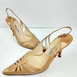 Jimmy Choo tan leather slingback heels 37.5